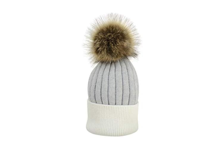HyFASHION Adults Luxembourg Luxury Bobble Hat (Grey/White) (One Size)