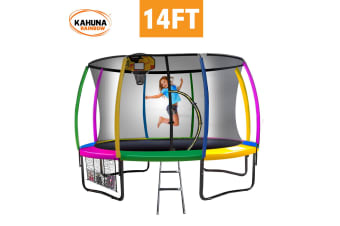 Kahuna Trampoline 14 ft with Basketball Set - Rainbow