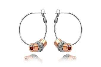 Flat Hoop Earrings w/Swarovski Crystals-Dual Tone/Clear