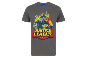 Justice League Mens Comic T-Shirt (Charcoal)