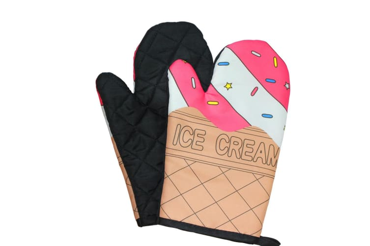 1 Set of Thick Kitchen Baking Cook Insulated Padded Oven Gloves Non-Slip Mitt AU  -  Ice