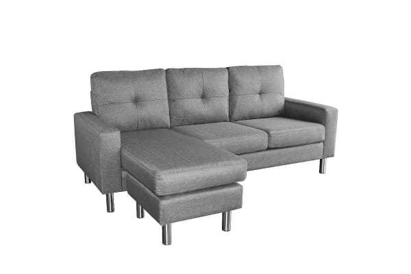 Linen Corner Sofa Couch Lounge Chaise with Metal Legs - Grey