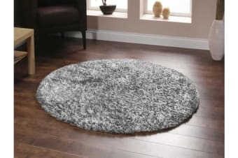 Twilight Shag Rug - Black White 120x120cm