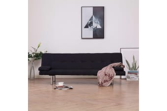 vidaXL Sofa Bed with Two Pillows Black Polyester