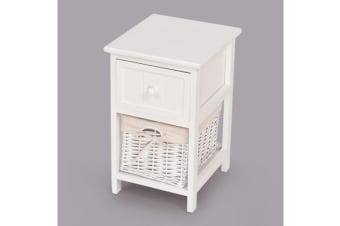 2Pcs Shabby Retro Chic Wooden Bedside Tables in White