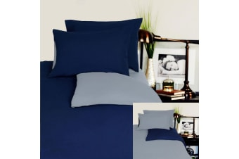 Reversible 100% Cotton JERSEY Quilt Cover Set Navy / Grey - QUEEN by Hotel Living