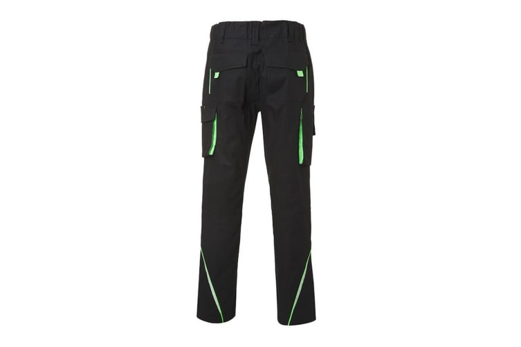 James and Nicholson Mens Level 2 Workwear Pants (Black/Lime Green) (28R)