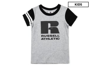 Russell Athletic Girls/Kids Eagle R Sports T-Shirt Top Size 12 Tee Ash Marle GRY