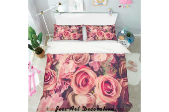 3D Red Flowers Quilt Cover Set Bedding Set Pillowcases  134-King