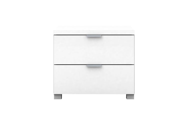 Kyana High Gloss 2 Drawer Bedside Table Chest Storage Lamp Bed Cabinet