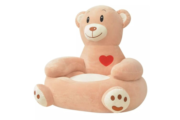 vidaXL Plush Children's Chair Bear Brown