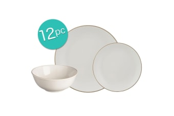 12pc Mason Cash Dinner Set Plates Bowls Side Dish Dining Kitchen Tableware Cream