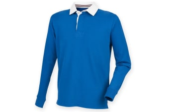 Front Row Mens Premium Long Sleeve Rugby Shirt/Top (Royal) (3XL)