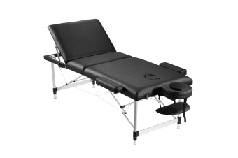 75cm Aluminium Massage Table Bed Therapy Equipment-Black
