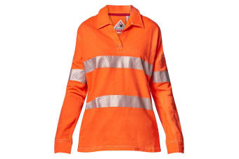 Hard Yakka Women's Bulwark iQ Flame Resistant Hi-Vis Taped Long Sleeve Polo (Orange, Size S)