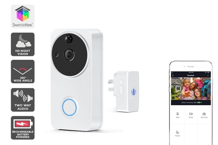 Kogan SmarterHome™ Wireless Smart Full HD 1080P Video Doorbell with Chime (White)