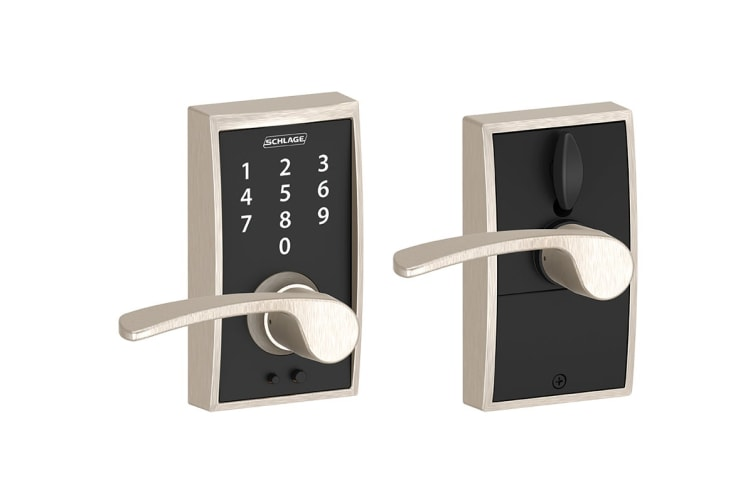 Schlage Touch Keyless Touchscreen Lever with Century Trim and Merano Lever (Satin Nickel)