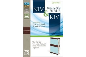 NIV, KJV, Side-by-Side, Compact, Leathersoft, Tan/Red - God's Unchanging Word Across the Centuries