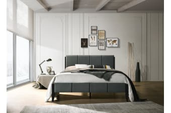King Single Fabric Upholstered Bed Frame in Charcoal