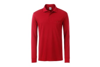 James and Nicholson Mens Workwear Long Sleeve Pocket Polo (Red) (XS)