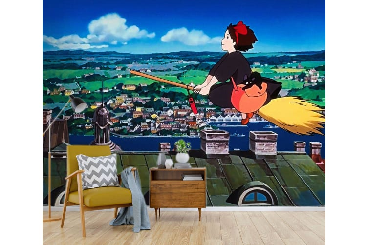 3D Kiki's Delivery Service 033 Anime Wall Murals Woven paper (need glue), XXL 312cm x 219cm (WxH)(123''x87'')