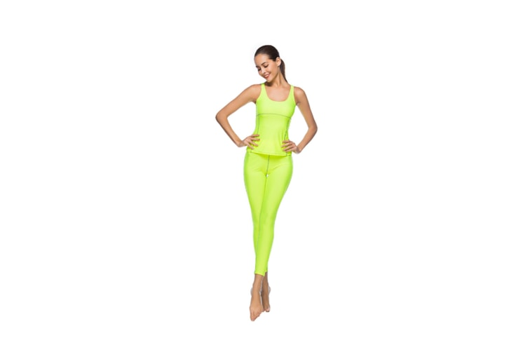 Women'S Tight-Fitting Nine-Sleeve Sports And Leisure Yoga Set Fluorescent Green S