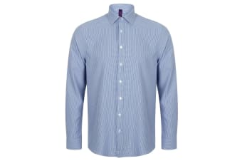 Henbury Mens Gingham Long Sleeve Shirt (Blue/White)