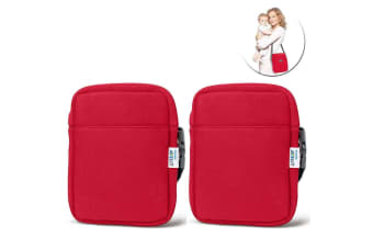2x Avent Neoprene ThermaBag Warmer Baby Bottle Insulated/Thermo Bag Hot/Cold Red