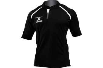 Gilbert Rugby Childrens/Kids Xact Match Short Sleeved Rugby Shirt (Black) (5-6 Years)