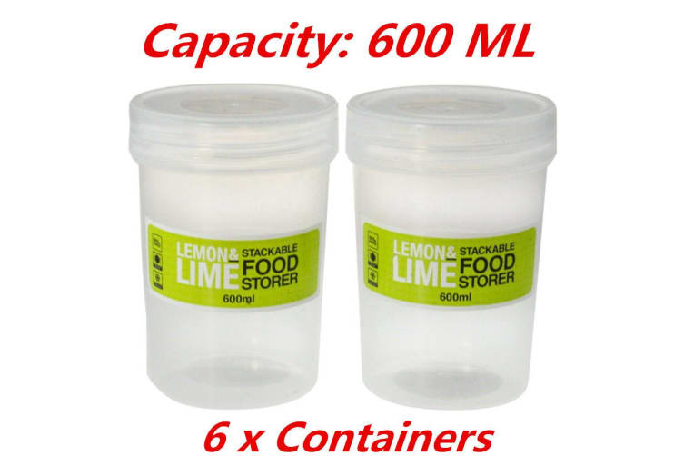 6 x 600ml Screw Top Stack-able Plastic Food Storage Container Box Tubs Lid BPA Free