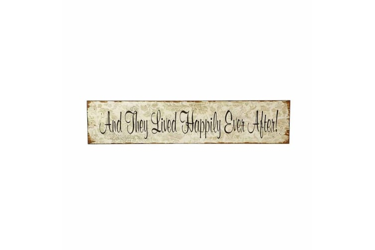 And They Lived Sign (Beige) (76 x 2 x 17cm)