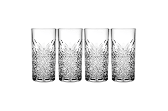 4pc Pasabahce Timeless 450ml Clear Hi Ball Glasses Cocktail Juice Drinks Glass