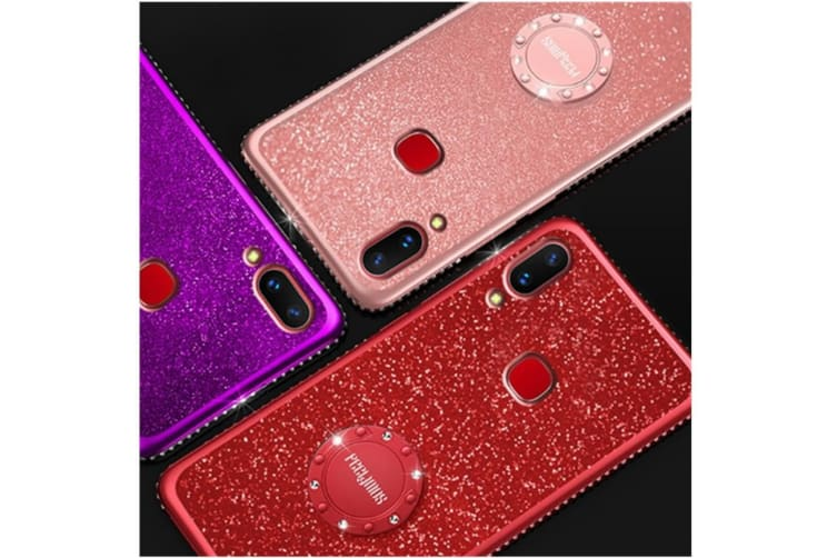 Glitter Diamond Rhinestone Bumper Ring Kickstand Protective Phone Case Vivo Red Vivo X20
