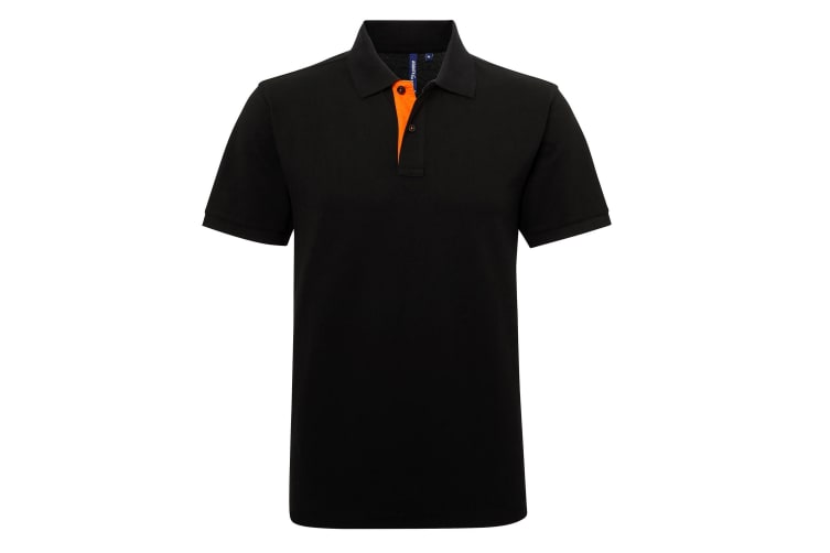 Asquith & Fox Mens Classic Fit Contrast Polo Shirt (Black/ Orange) (S)