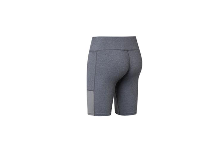 Women'S Stretch Running Workout Shorts With Pocket - Grey Grey L