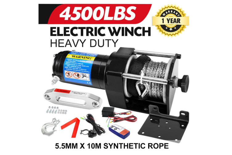ATEM POWER Wireless 4500LB/2041kg 12V Electric Winch Synthetic Rope ATV 4WD 4x4