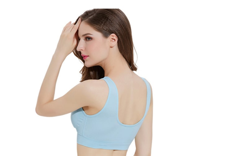 12 Colors Women Workout And Gym Seamless Yoga Sports Bra Light Blue L