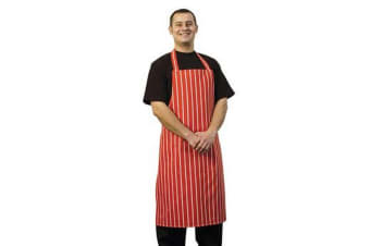 BonChef Butcher Full Length Apron (Red/White)