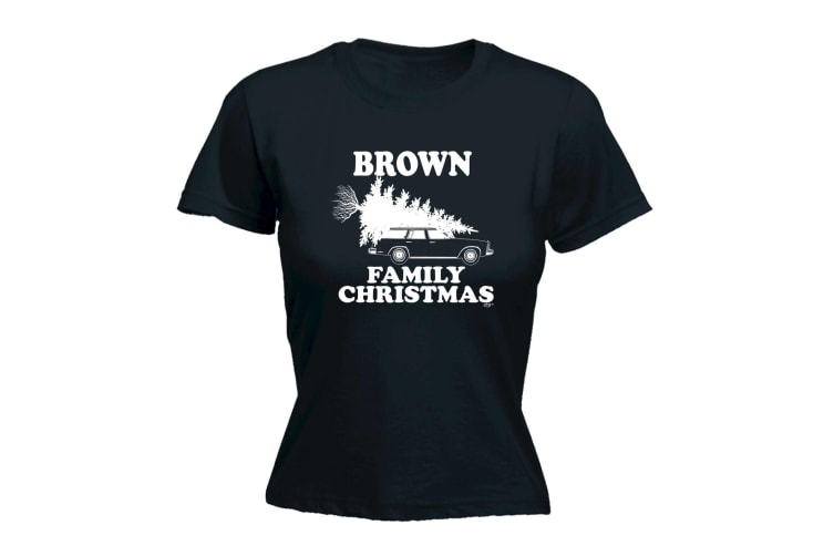 123T Funny Tee - Brown Family Christmas - (Medium Black Womens T Shirt)
