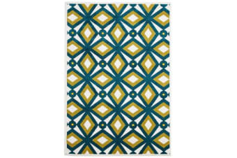 Indoor Outdoor Nadia Rug Blue Citrus 290x200cm