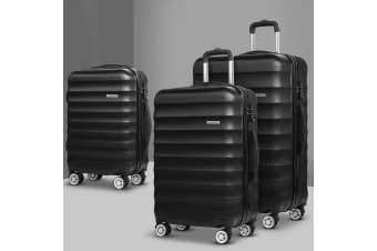 3pc Luggage Sets Suitcase Set TSA Black Hard Case Lightweight