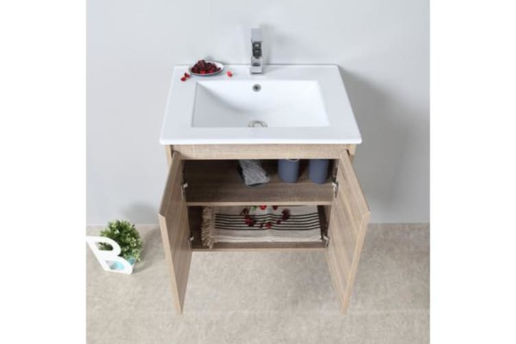 Aulic Wall Hung Bathroom 600mm Vanity Cabinet Snow Stone Top with undermount basin