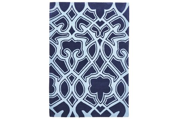 Gothic Tribal Design Rug Navy 165x115cm