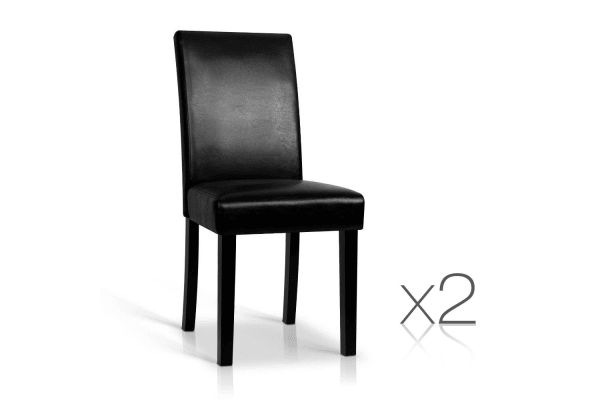 Set of 2 PU Leather Dining Chairs (Black)