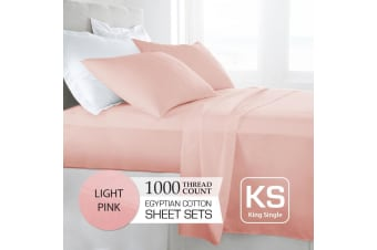 King Single Size Light Pink 1000TC Egyptian Cotton Sheet Set