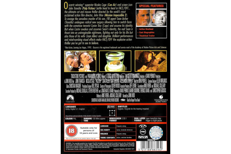 Face/Offf - Region 2 Rare- Aus Stock DVD Preowned: Excellent Condition