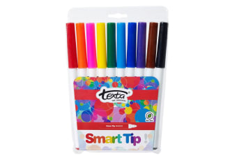 10pc Texta The Original Smart Bullet Tip Markers Water Based Kids Drawing Pens