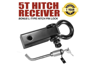 SAN HIMA 5 Tonne Recovery Hitch Receiver Bonus Bow Shackle Tow Bar L-Type Hitch Pin Lock