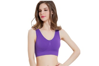 12 Colors WomenWorkout And Gym Seamless Yoga Sports Bra Purple L