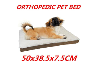 Dog Pet Bed Mat Orthopedic Pad Memory Foam Medium Large 50CM Soft Sherpa